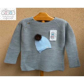 Pipos Winter Baby Boy Sweater Hat Gray