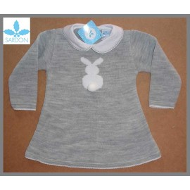 Sardon Winter Baby Girl Gray Dress Rabit