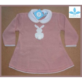 Sardon Winter Baby Girl Pink Dress Rabit