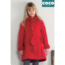 Coco Acqua Winter Girl Red Muflon Coat