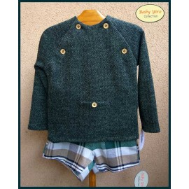 BabyYiro Winter Boy Set Green and Squares