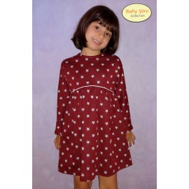 BabyYiro Winter Girl Dress Wine Stars
