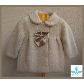 Sardon Winter Baby Girl Camel Coat with Bonnet