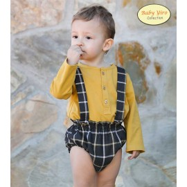 BabyYiro Winter Baby Boy Set Ocher and Squares Suspenders
