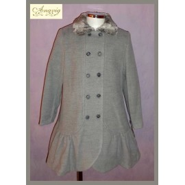 Anavig Winter Girl Gray Coat with Ruffle
