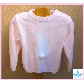 Sardon Winter Baby Girl Pink Sweater Rabbit Pompom