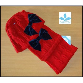 Sardon Scarf and Hat Baby Girl Red Navy Tie