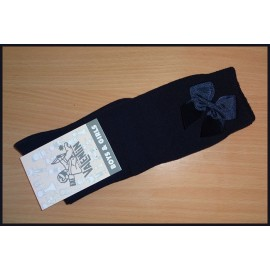 Valentin Girl Navy High Socks with Tie