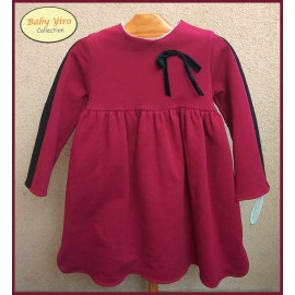 BabyYiro Winter Girl Dress Wine Black Stripe