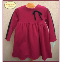 BabyYiro Winter Girl Dress Wine Black Stripes