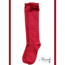 Miranda Girl Red High Socks with Velvet Tie
