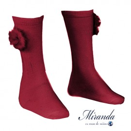 Miranda Girl Wine High Socks with Pompom
