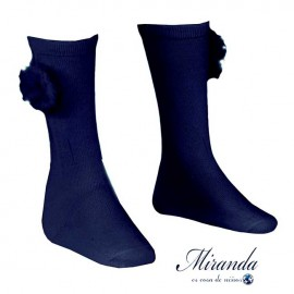 Miranda Girl Navy High Socks with Pompom