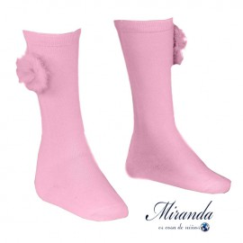 Miranda Girl Pink High Socks with Pompom