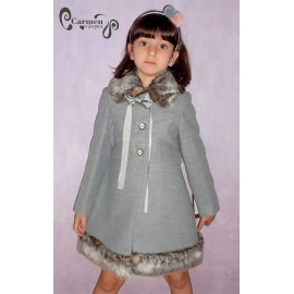 Carmen Vázquez Winter Girl Coat Gray with Hair