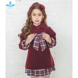 Sardon Winter Baby Girl Wine Coat with Suqared Tie