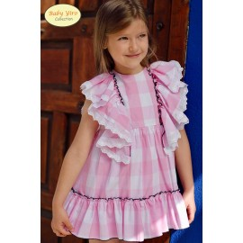BabyYiro Summer Girl Dress Pink Squares