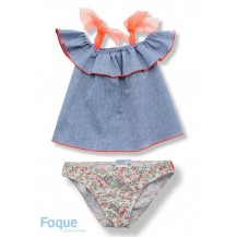 Foque Summer Girl Swim Set Denim and Flowers