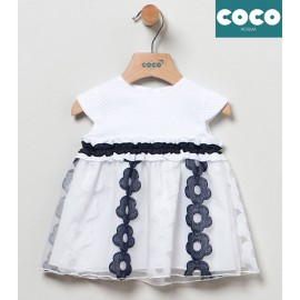 Coco Acqua Summer Baby Girl Dress White and Navy
