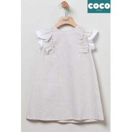 Coco Acqua Summer Girl Dress Camel Stripes