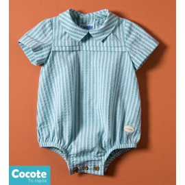 Cocote Summer Baby Romper Green Stripes