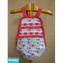Cocote Summer Baby Girl Romper Red with Flowers