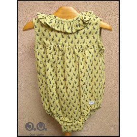 Jose Varon Summer Baby Boy Romper Guitars Mustard