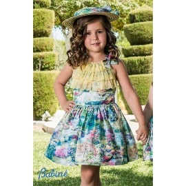 Babiné Summer Girl Dress Printed with Ruffles of Tulle