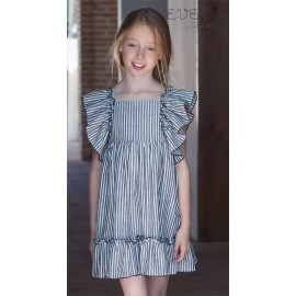 Eve Children Summer Girl Dress Dragon Fly Gray Stripes