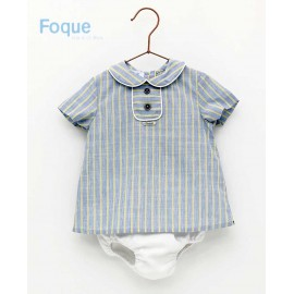 Foque Summer Baby Boy Set Yellow and Blue Stripes