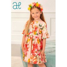 Abel & Lula Winter Girl Dress Peach Colour and Printed