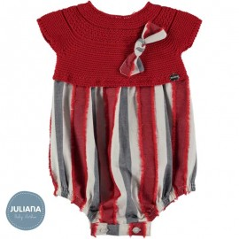 Juliana Summer Baby Romper Red with Stripes
