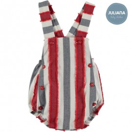Juliana Summer Baby Boy Romper Red and Navy Stripes