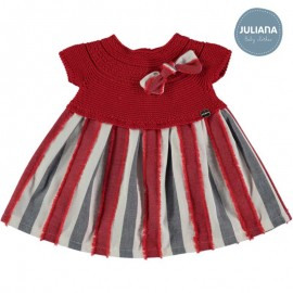 Juliana Summer Baby Girl Dress Red and Stripes