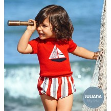 Juliana Summer Baby Boy Red Set with Boat