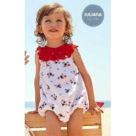 Juliana Summer Baby Romper Red and Fishes