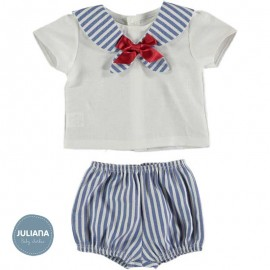 Juliana Summer Baby Boy Set White and Blue Stripes