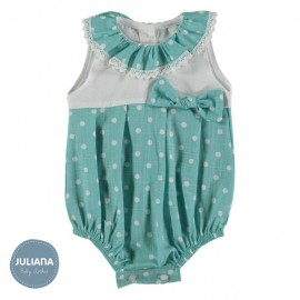Juliana Summer Baby Romper White and Green