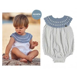 Juliana Summer Baby Romper White with Blue Neck