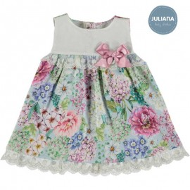 Juliana Summer Baby Girl Dress White and Flowers
