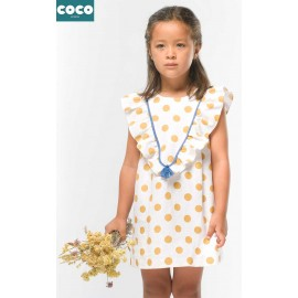 Coco Acqua Summer Girl Dress Ocher Spots with Ruffles