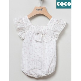 Coco Acqua Summer Baby Girl White Romper with Flowers