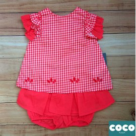 Coco Acqua Summer Baby Girl Set Red Squares