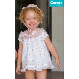 Cocote Summer Baby Girl Dress Pink Stars