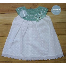 Juliana Summer Baby Girl Dress White with Green Neck