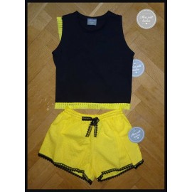 Mon Petit Bonbon Summer Girl Set Black and Yellow Shorts