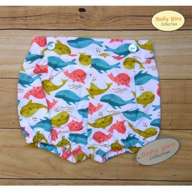 Baby Yiro Summer Baby Boy White Shorts with Whales