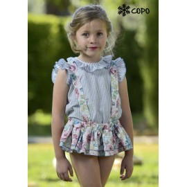 Creaciones Copo Summer Girl Dress Stripes and Flowers