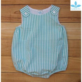 Sardon Summer Baby Romper Green Stripes