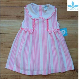 Sardon Summer Girl White Dress Pink Stripes